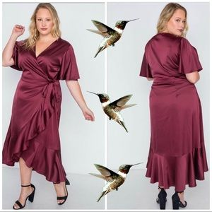 Dresses & Skirts - Wrap Flounce style Frill Plus Size Dress